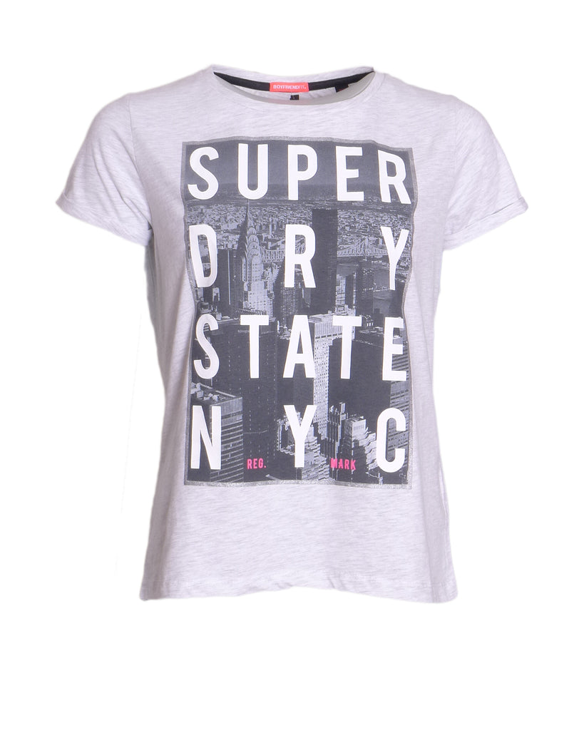 Nyc State Boyfriend Grey Tee By Superdry Womens