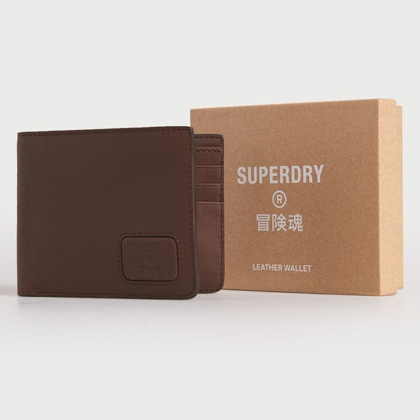 Men's Nyc bifold dark brown leather wallet by Superdry