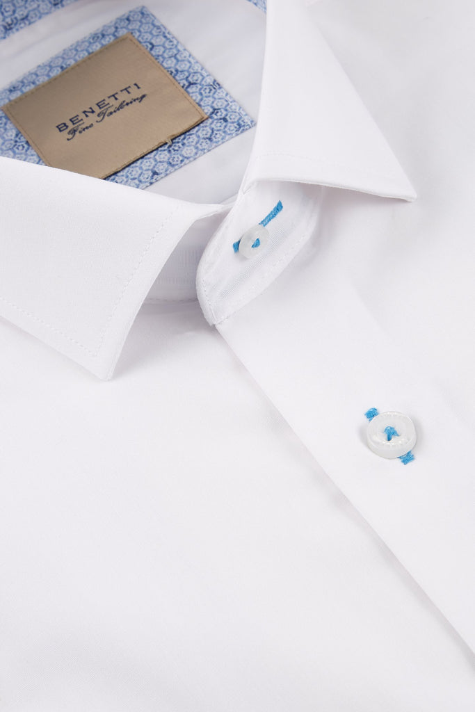 Obj White Slim Fit Shirt By Benetti