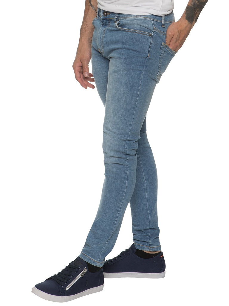 Mens Super Skinny Slim Fit Stretch Light Stonewash Jeans by Enzo Jeans ... 7b9aaa052e