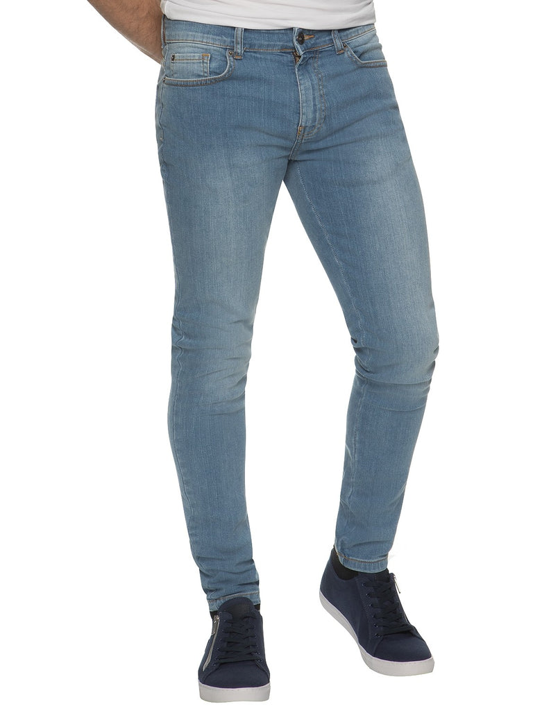 Mens Super Skinny Slim Fit Stretch Light Stonewash Jeans by Enzo Jeans