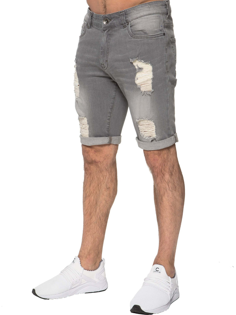 Mens Grey Distressed Shorts - side