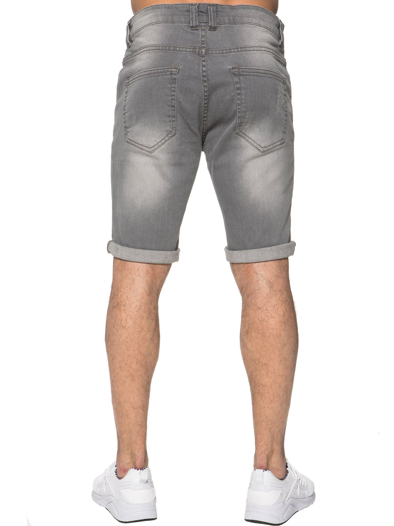 Mens Grey Distressed Shorts - back