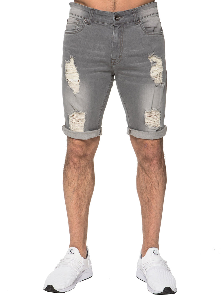 Mens Grey Distressed Shorts