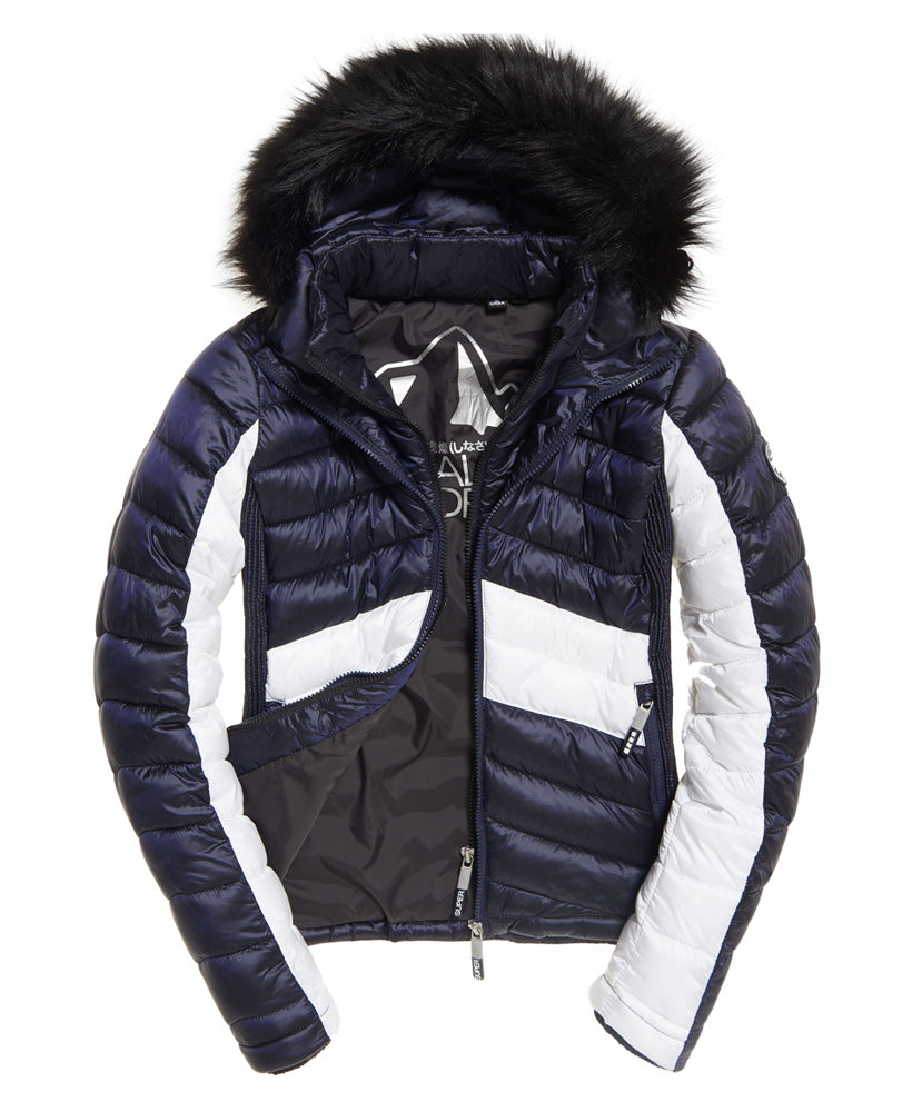 Offshore Luxe Chevron Fuji Navy Jacket by Superdry Womens