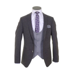 Three Piece Suit With Silver Scoop Waistcoat - front