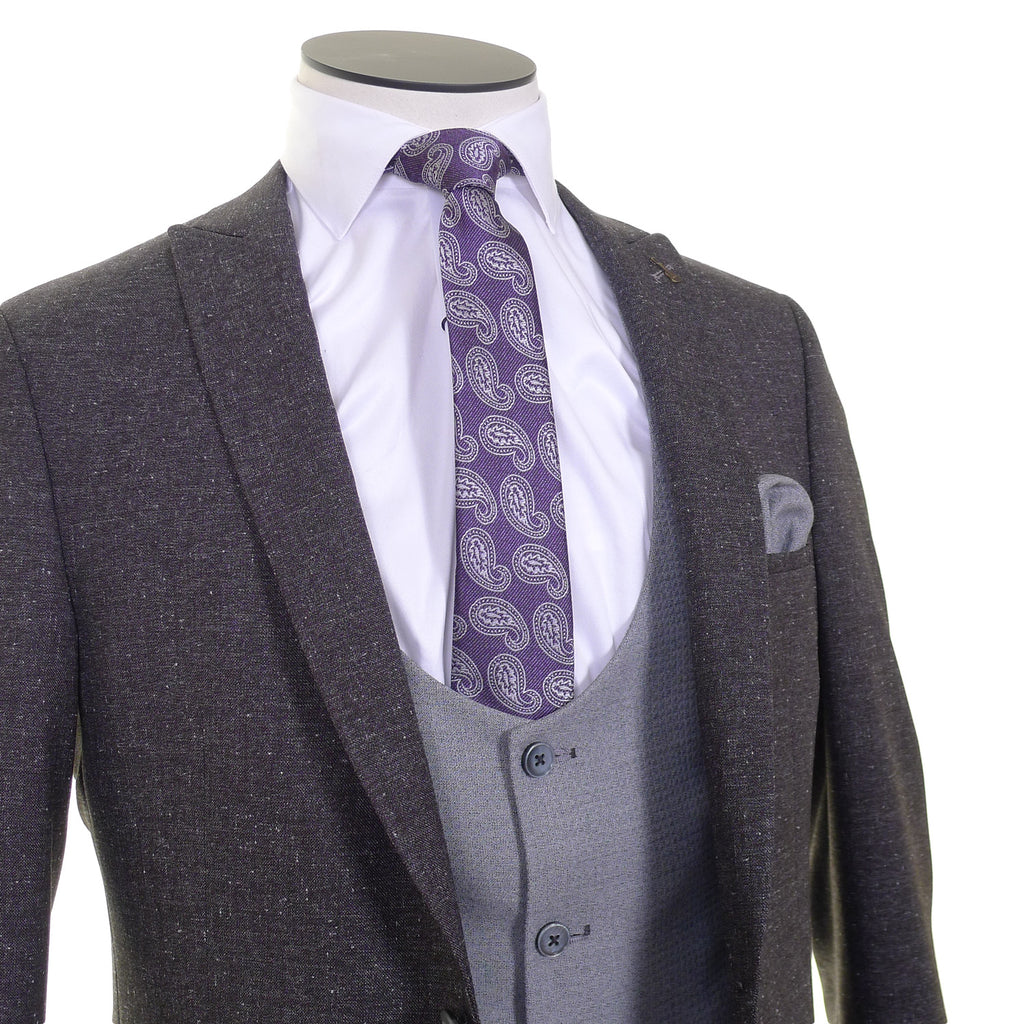 Three Piece Suit With Silver Scoop Waistcoat - close up