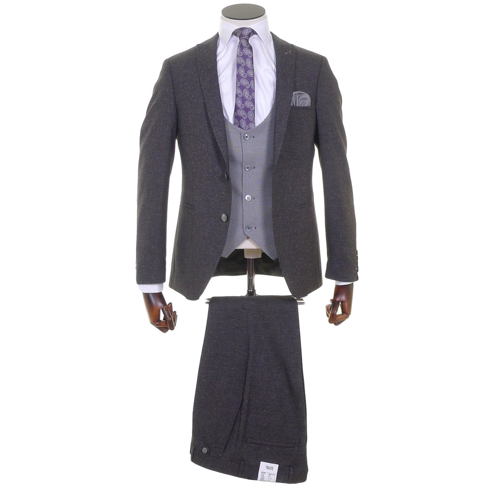 Three Piece Suit With Silver Scoop Waistcoat