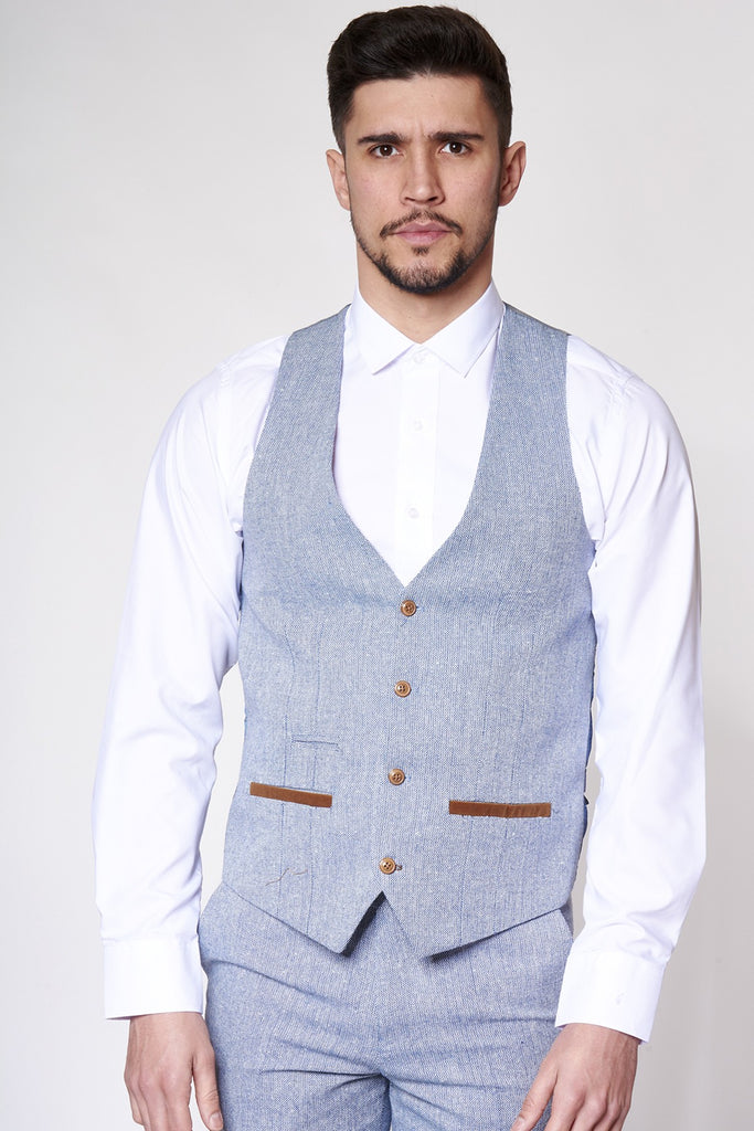 Oscar Light Blue Heritage Tweed Contrast Waistcoat By Marc Darcy