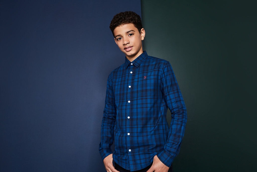 Farah Junior Boys Blue Tripoli Shirt