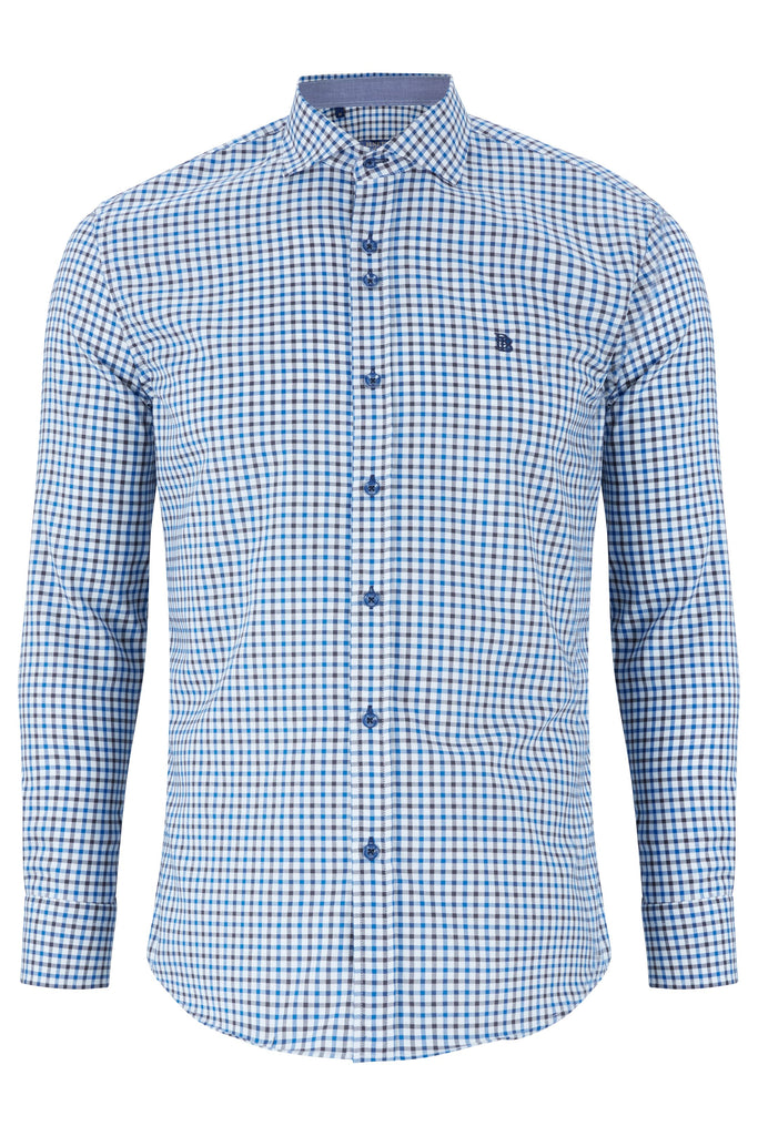 Men's Conor Modern Fit Teal Check Shirt