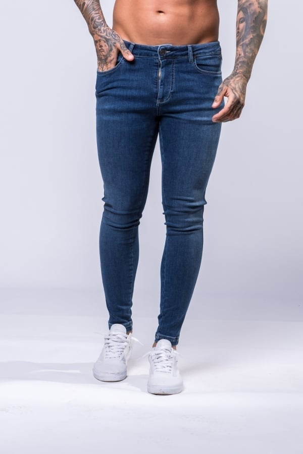11 Degrees Plain Super Stretch Skinny Jeans - Indigo Stretch Denim