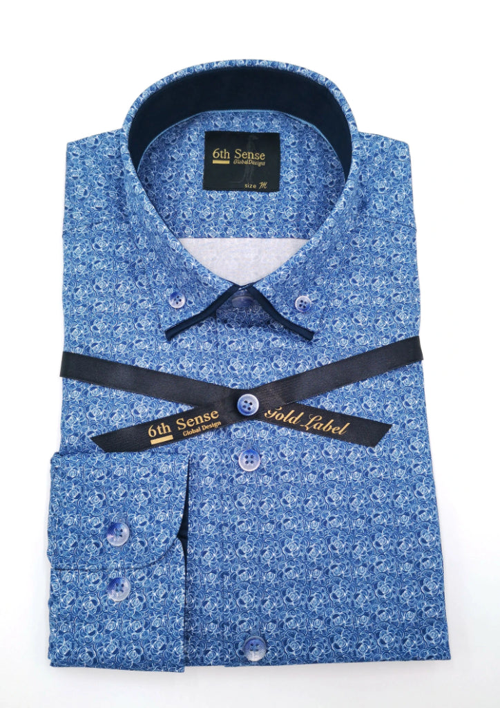 Blue Pattern Double Collar 2A