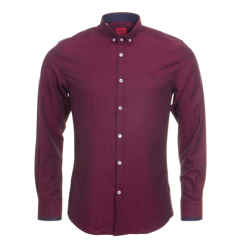 Oxford Button Down Collar Burgundy by Swade