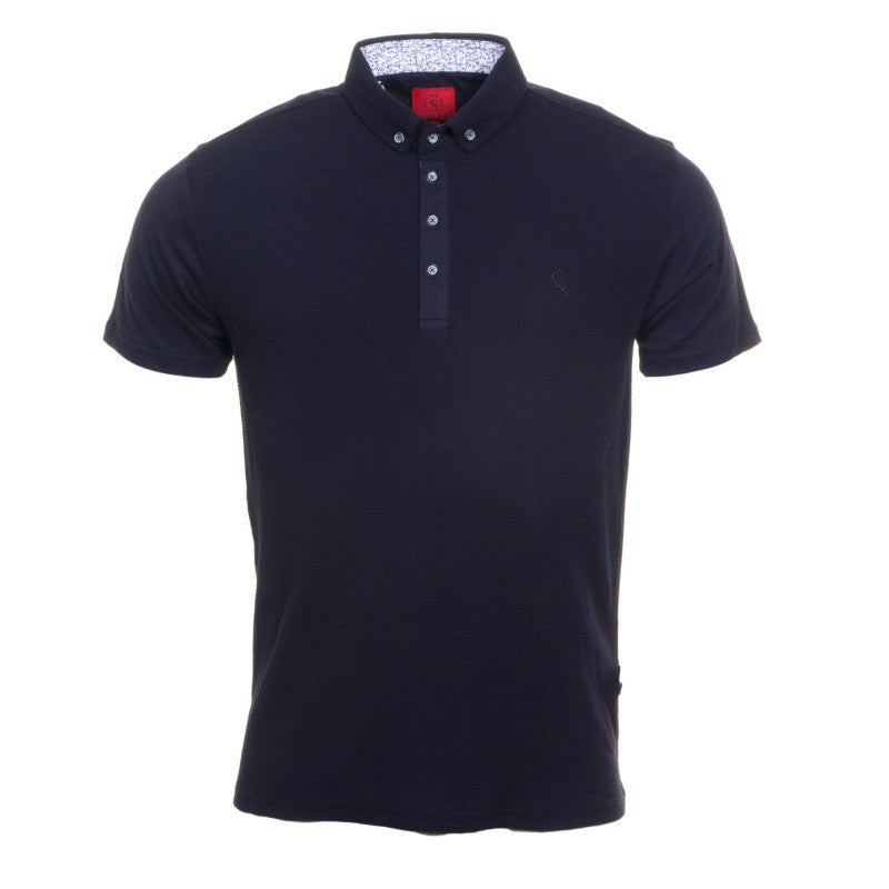 Textured Navy Polo by Swade