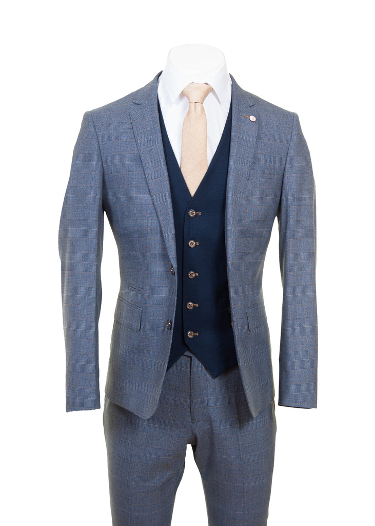 Navy & Tan Check Suit With Navy Waistcoat