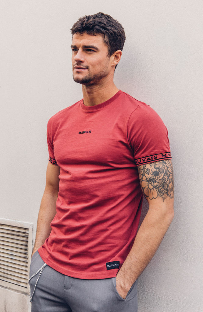 Red Ringer Short Sleeve Tee by Mauvais