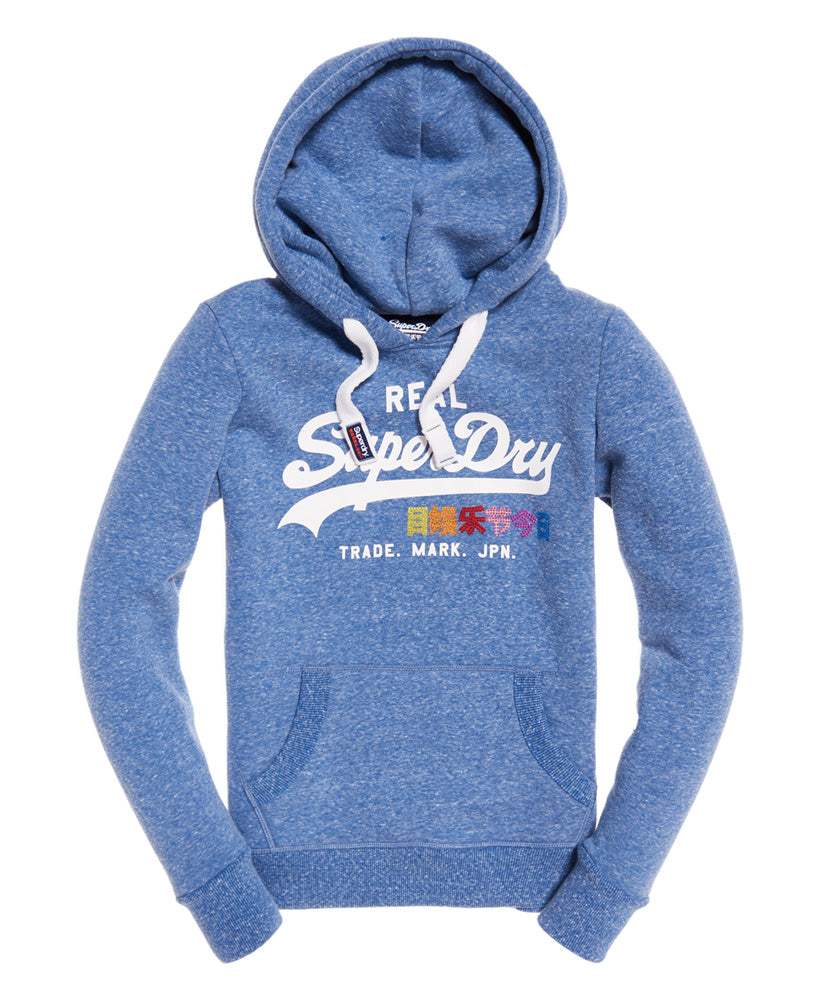 Vintage Logo Rhinestone Hoody by Superdry Womens - Front