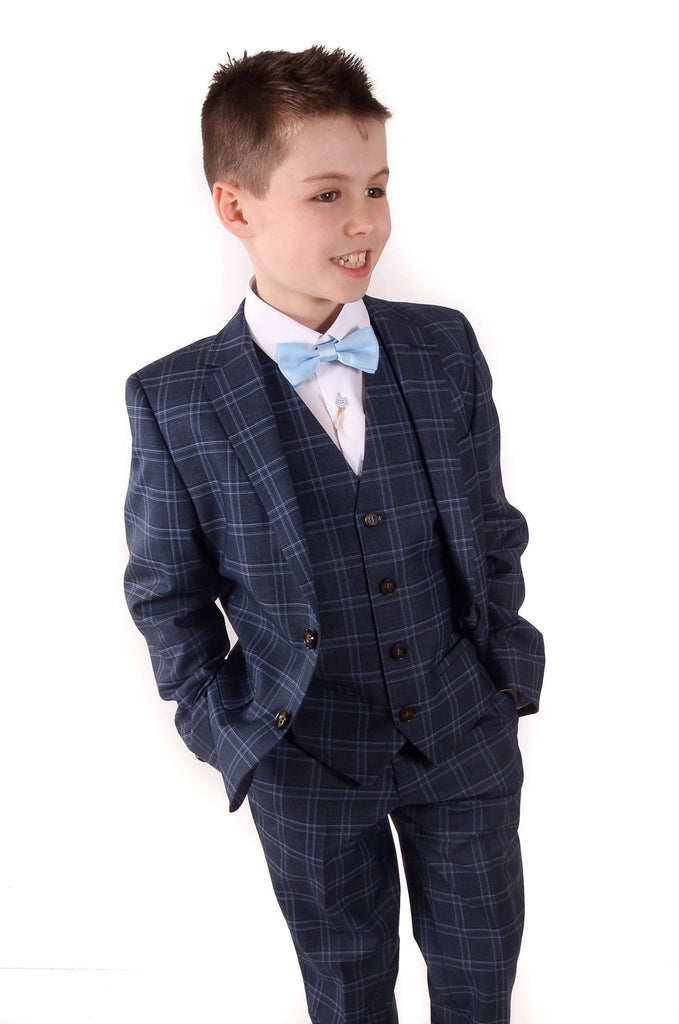 Riga 3 Piece Check Boys Suit By Benetti