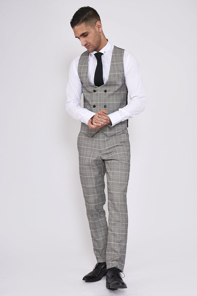 Ross Grey Check Double Breasted Waistcoat