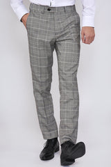 Ross Trousers Grey Check Tapered Fit