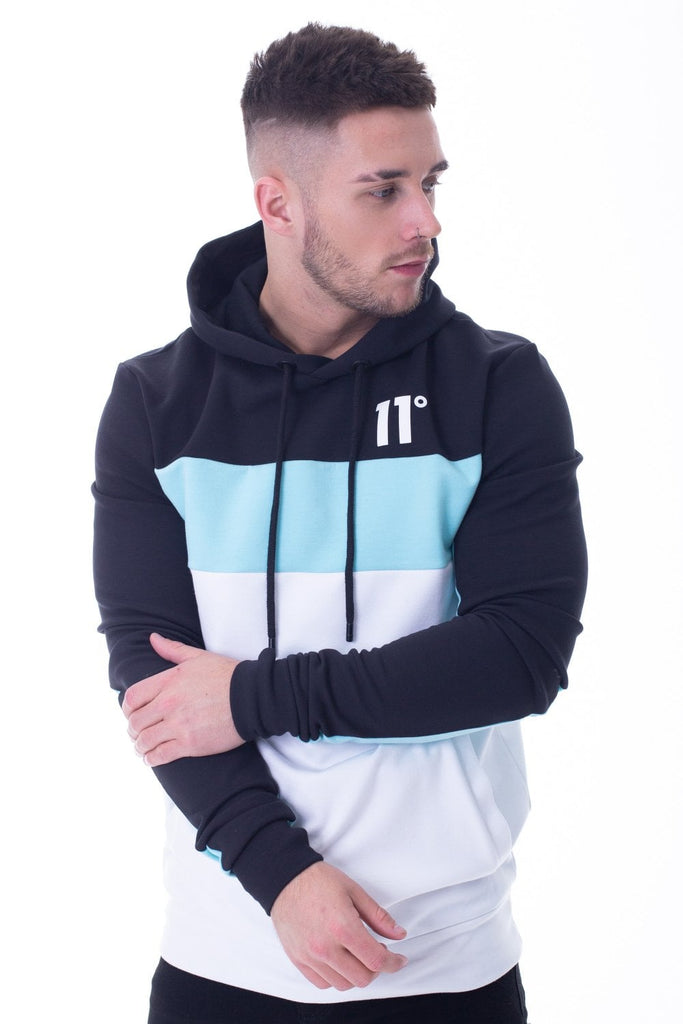 Rubix Block Hoodie - Aqua Soft Touch Fleece Fabric Ribbed Cuffs