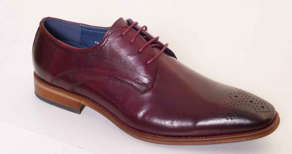 S2037 Burgundy Brogue Shoe By 6Th Sense