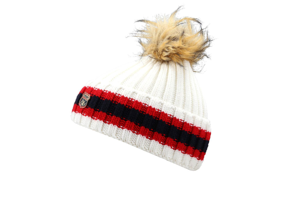 Superdry Aimee Stripe Ribbed White Ladies Beanie