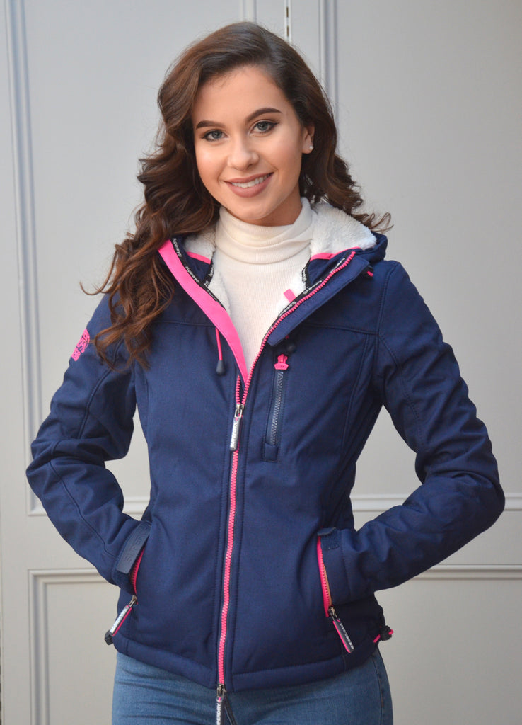 Hooded Sherpa Windtrekker Navy Jacket By Superdry Womens