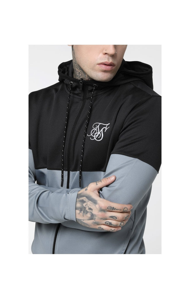 Agility Cut & Sew Zip Through Hoodie - Dark Grey & Ice Grey by SikSilk