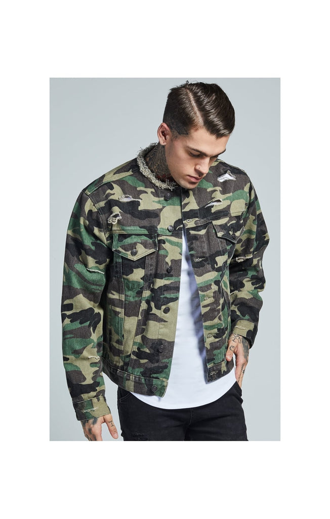 Camo Collarless Denim Jacket By SikSilk