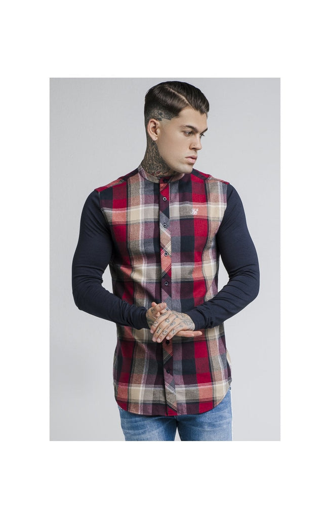 6024295835b7 SS-14269 Navy   Red Check Grandad Long Sleeve Shirt