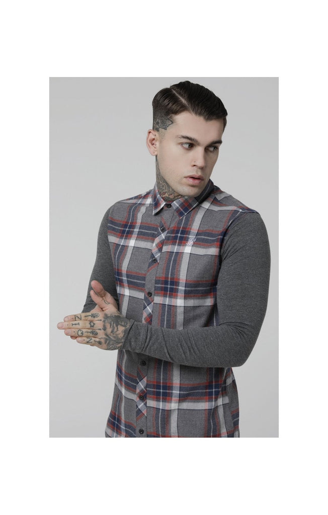 Flannel long Sleeve Shirt - Grey, Navy & Red by Sik Silk