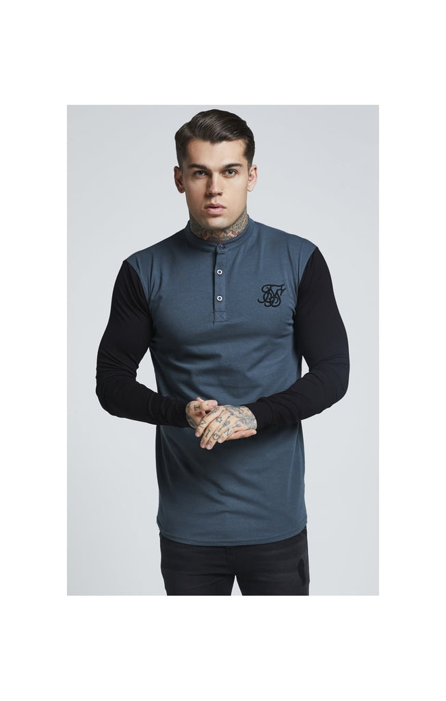 SS-13368 Green & Black Grandad Collar Gym Tee By SikSilk