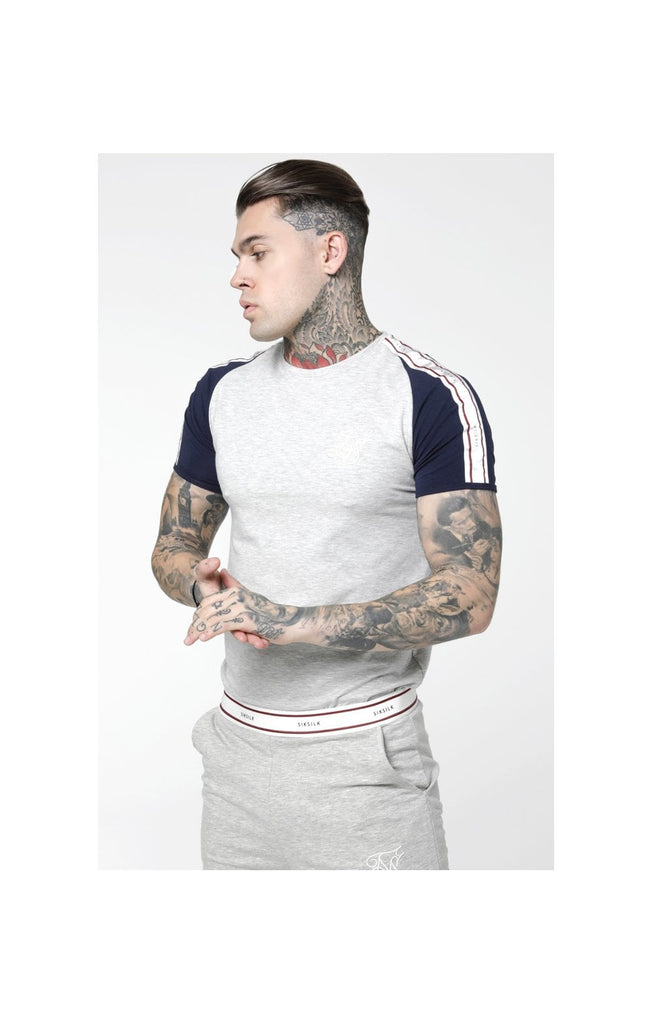 SikSilk Raglan Taped Sports Gym Tee – Grey Marl