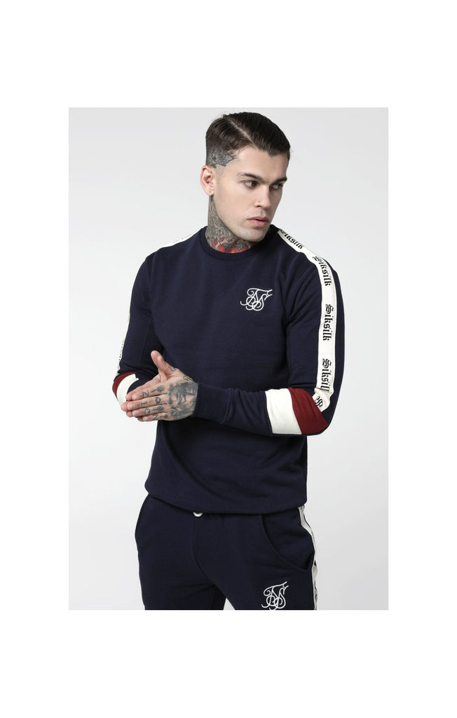 Retro Crew Neck Sweater Navy/Red/Off White by SikSilk