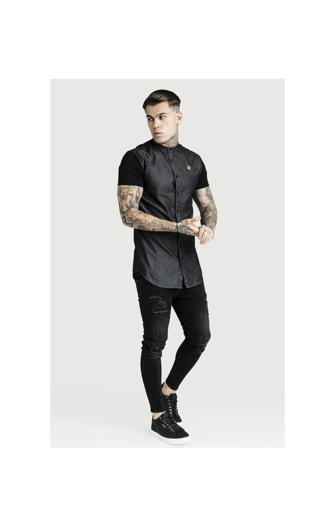 Sik Silk SS-13610 Black Denim Grandad Collar Short Sleeve Shirt