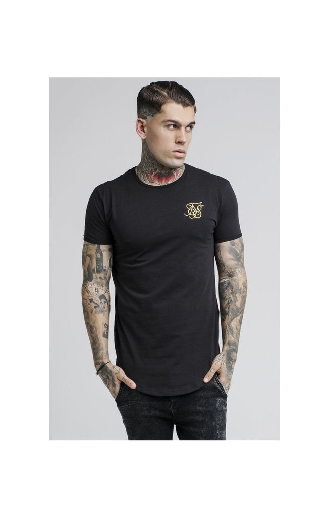 Crew neck Short sleeve Tee with Gold SikSilk logo & Curved hem