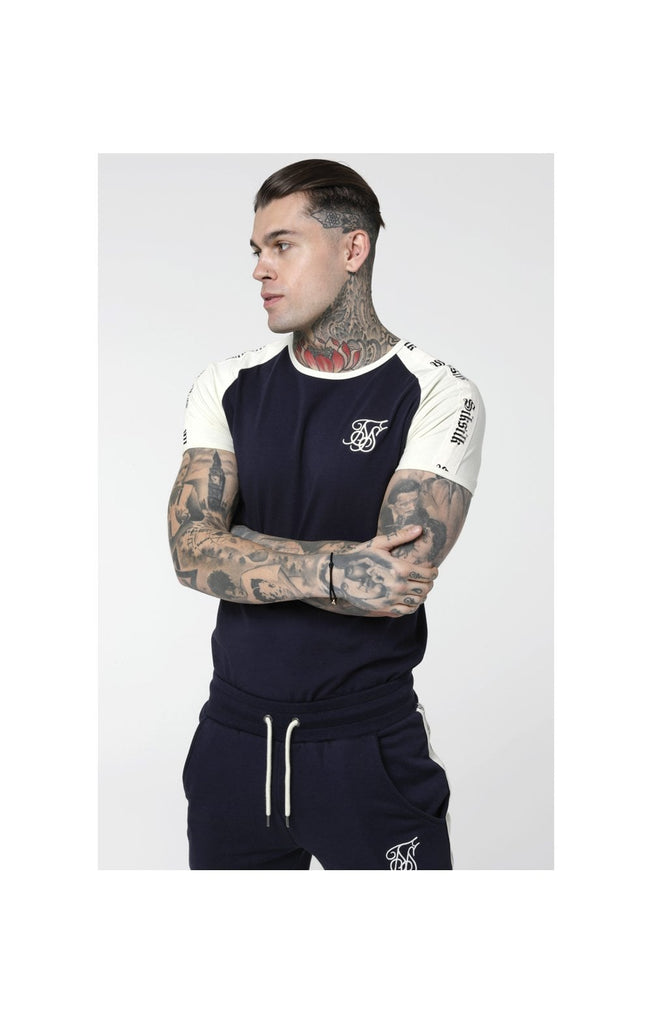 Tape Gym Short Sleeve Tee Off White/Navy by SikSilk