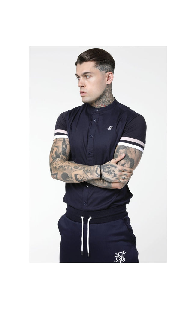 SikSilk S/S Sprint Grandad Shirt - Navy, Pink & White