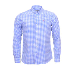Sky And White Check Slim Shirt By Tom Penn