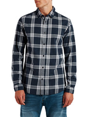 Sope Navy Check Long Sleeve Shirt By Jack Jones Originals