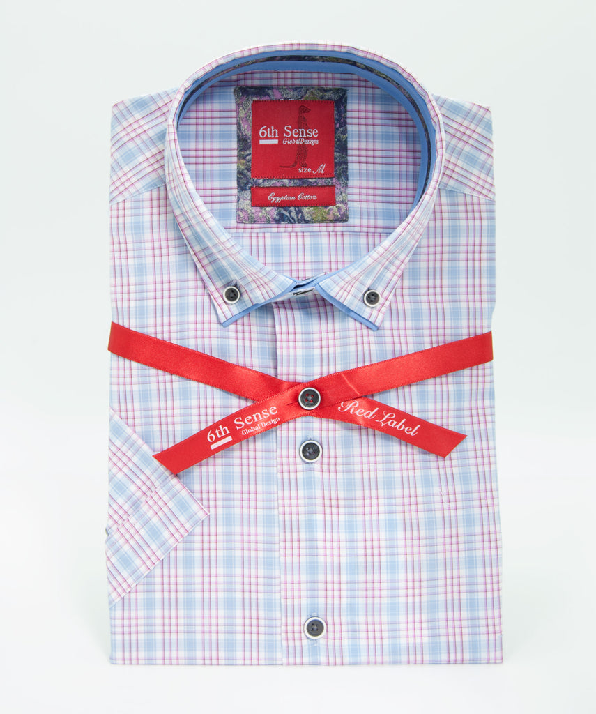 Sky Blue Pink Check SS Shirt 11A