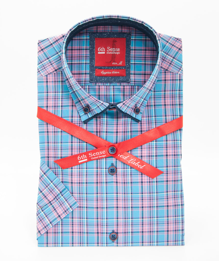 Blue Pink Check SS Shirt 2A