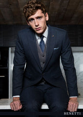 Stephen Navy Pinstripe 3 Piece Tapered Fit Suit