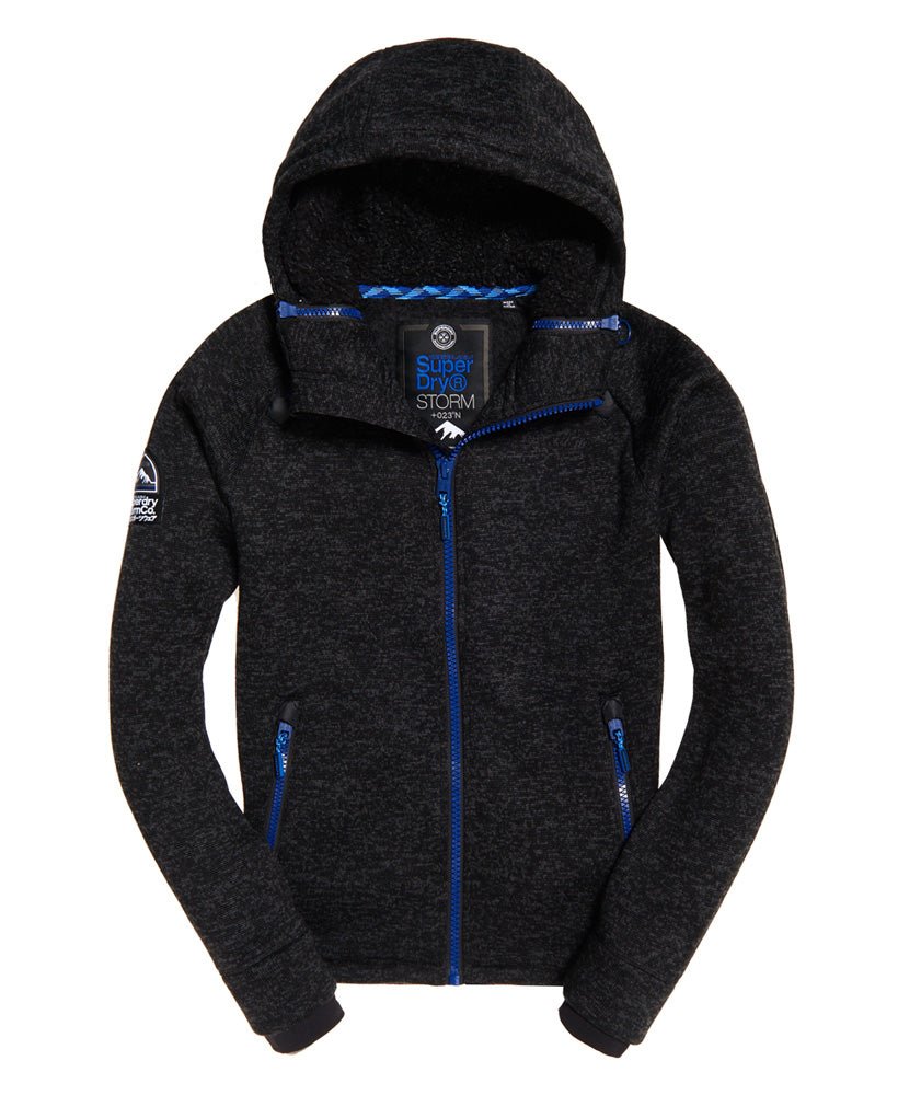 Storm Double Zip Hoodie Black Granite by Superdry - Front