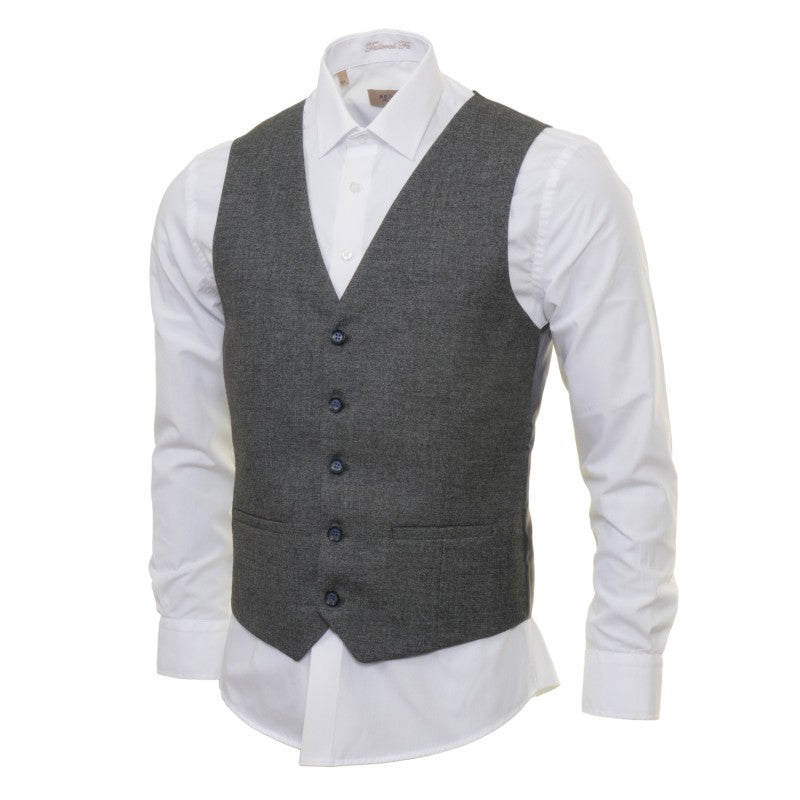 Strada Tapered Fit Grey Waistcoat by Benetti
