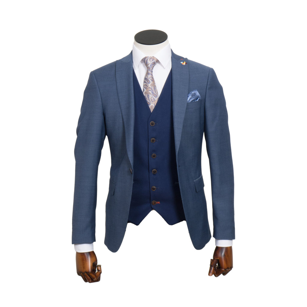 Suarez Blue Tailored Fit 3 Piece Suit By Benetti