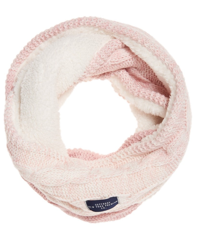 Superdry Womens Clarrie Cable Knit Pink Ombre Snood