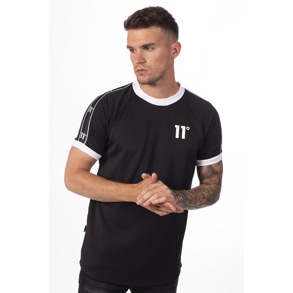 11 Degrees Tape Ringer Tee Black